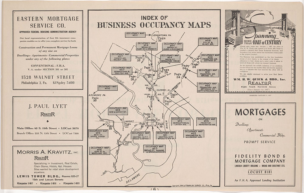 Franklin's Street and Business Occupancy Atlas of Philadelphia & Suburbs, 1946, Occupancy Map Index