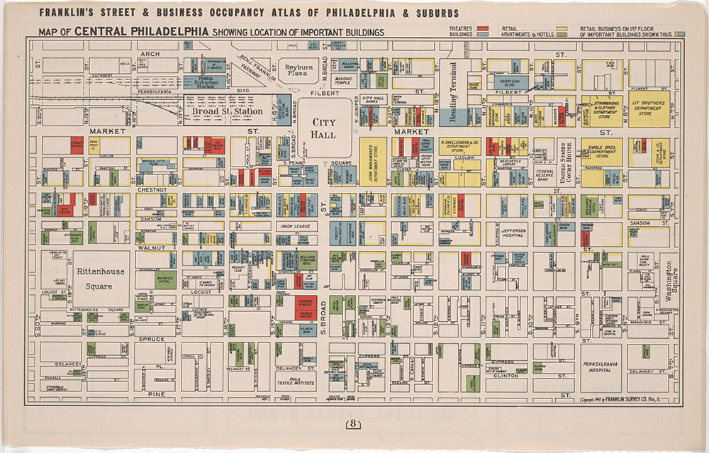 map of central philadelphia Franklin S Street And Business Occupancy Atlas Of Philadelphia map of central philadelphia