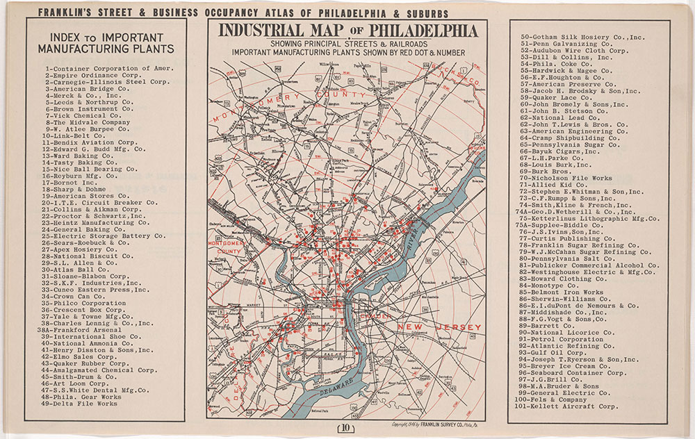 Franklin's Street and Business Occupancy Atlas of Philadelphia & Suburbs, 1946, Industrial Map & Index