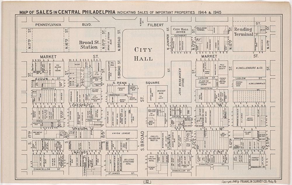 Franklin's Street and Business Occupancy Atlas of Philadelphia & Suburbs, 1946, Center City Sales, 1944/45