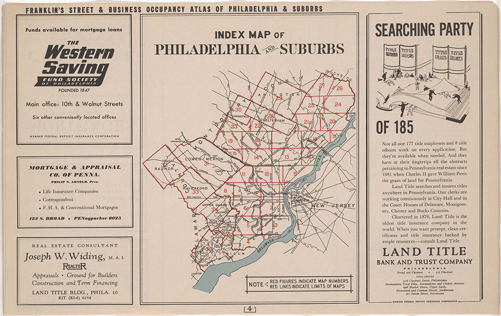 Franklin's Street and Business Occupancy Atlas of Philadelphia & Suburbs, 1946, General Business Location Map Index