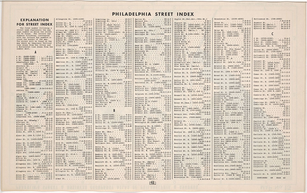 Franklin's Street and Business Occupancy Atlas of Philadelphia & Suburbs, 1946, Philadelphia Street Index, A-Carroll