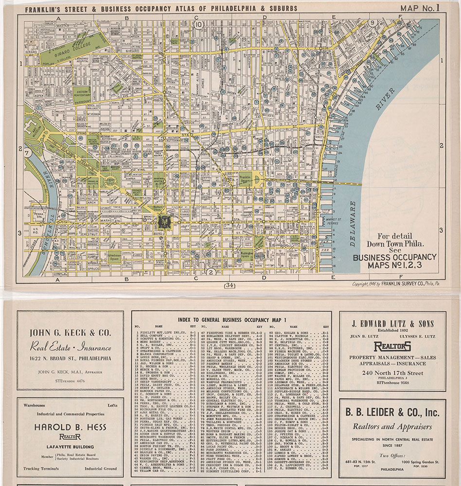 Franklin's Street and Business Occupancy Atlas of Philadelphia & Suburbs, 1946, Location Map 1