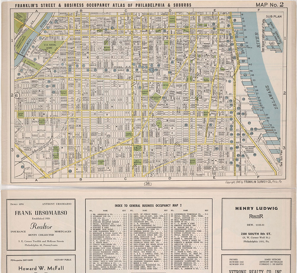 Franklin's Street and Business Occupancy Map of Philadelphia & Suburbs, 1946, Location Map 2