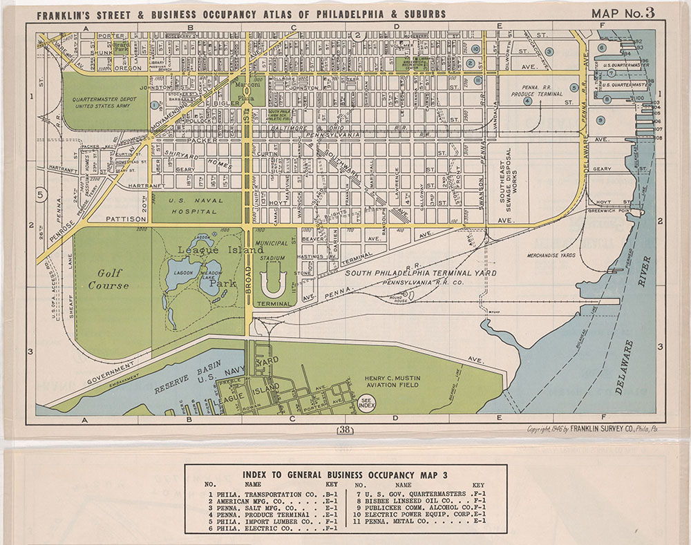 Franklin's Street and Business Occupancy Atlas of Philadelphia & Suburbs, 1946, Location Map 3