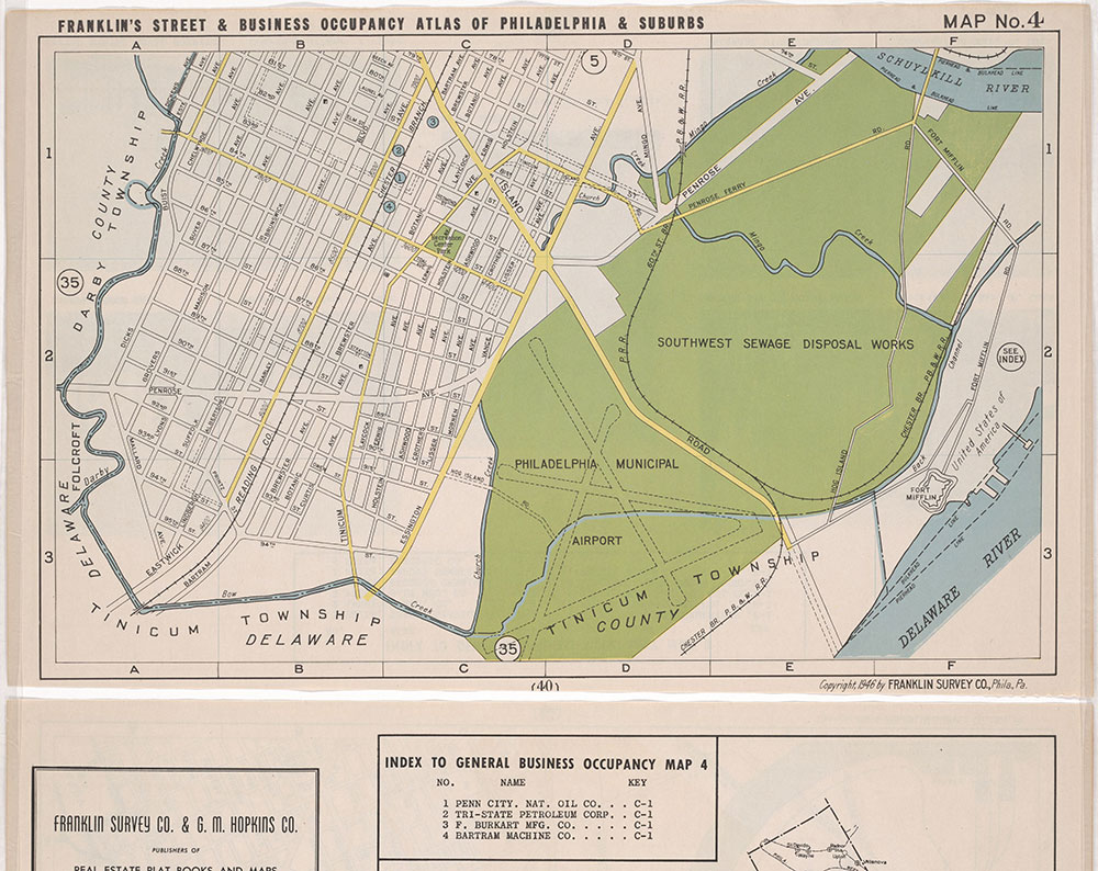 Franklin's Street and Business Occupancy Atlas of Philadelphia & Suburbs, 1946, Location Map 4
