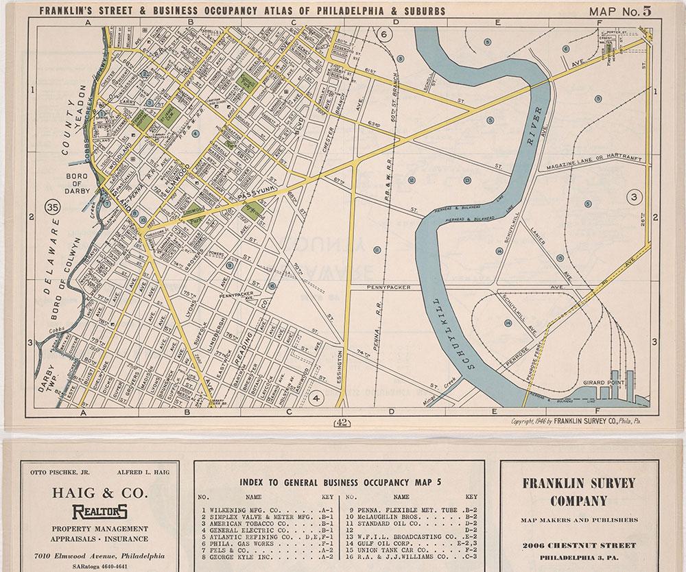 Franklin's Street and Business Occupancy Atlas of Philadelphia & Suburbs, 1946, Location Map 5