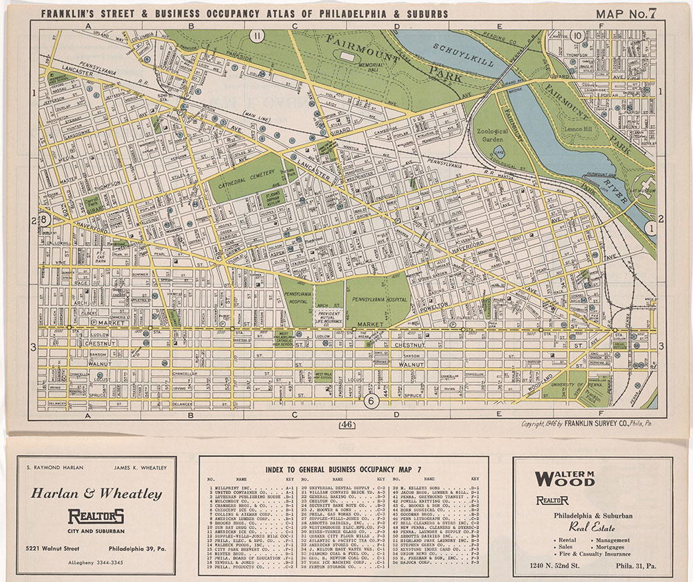 Franklin's Street and Business Occupancy Atlas of philadelphia & Suburbs, 1946, Location Map 7