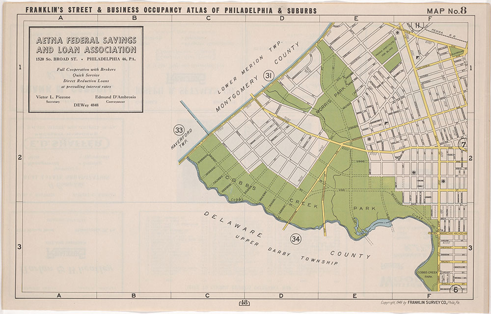 Franklin's Street and Business Occupancy Atlas of Philadelphia & Suburbs, 1946, Location Map 8