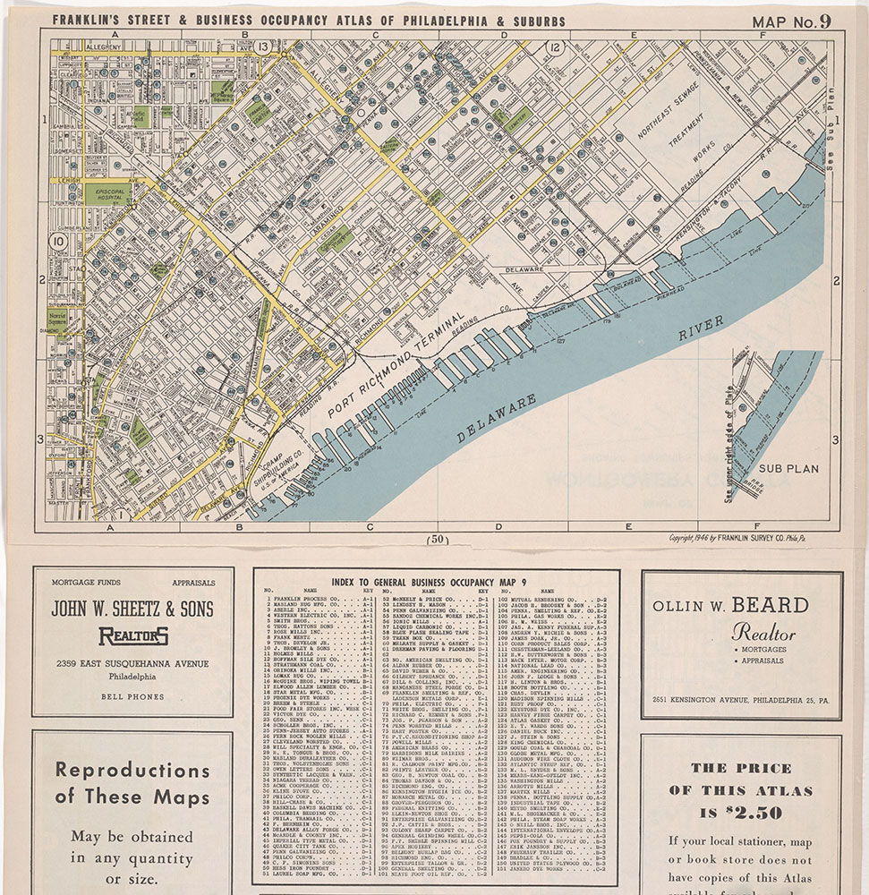 Franklin's Street and Business Occupancy Atlas of Philadelphia & Suburbs, 1946, Location Map 9