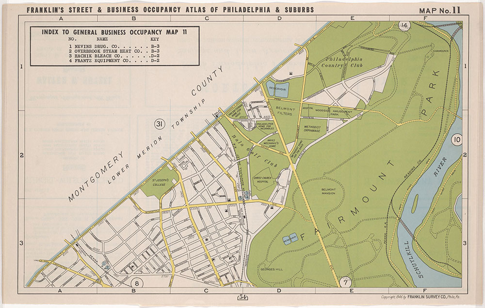 Franklin's Street and Business Occupancy Atlas for Philadelphia & Suburbs, 1946, Location Map 11