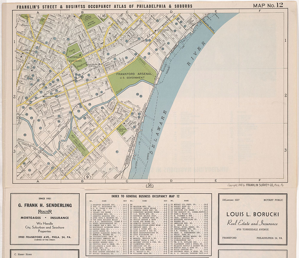 Franklin's Street and Business Occupancy Atlas of Philadelphia & Suburbs, 1946, Location Map 12