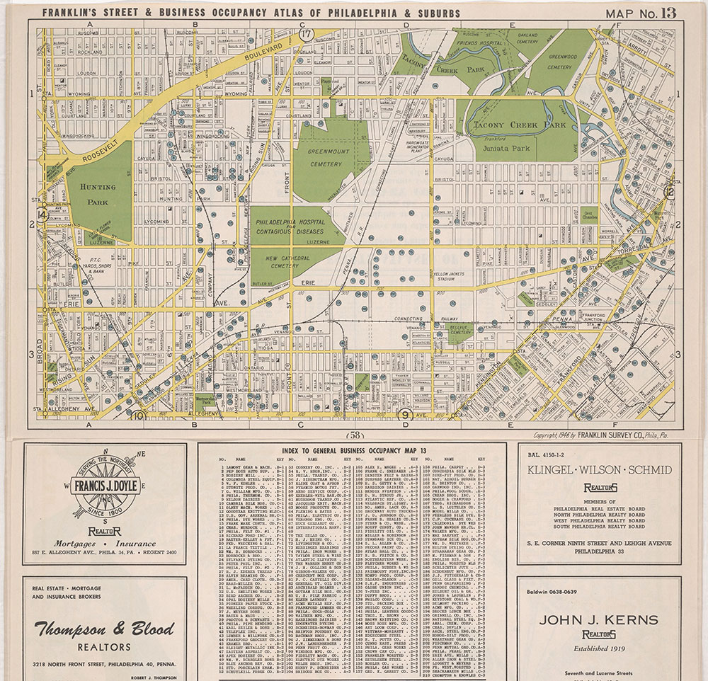Franklin's Street and Business Occupancy Atlas of Philadelphia & Suburbs, 1946, Location Map 13