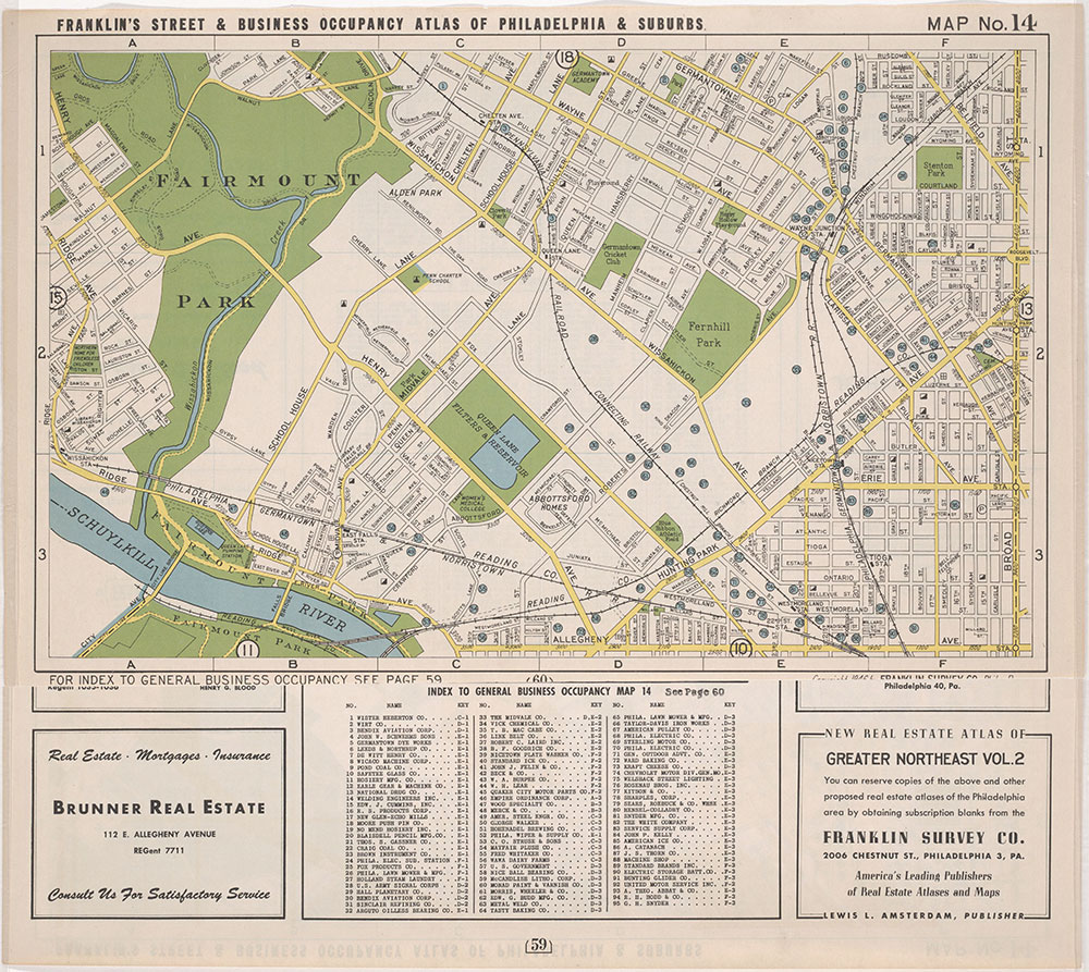 Franklin's Street and Business Occupancy Atlas of Philadelphia & Suburbs, 1946, Location Map 14