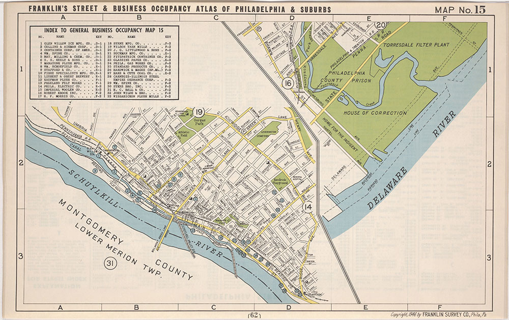 Franklin's Street and Business Occupancy Atlas of Philadelphia & Suburbs, 1946, Location Map 15