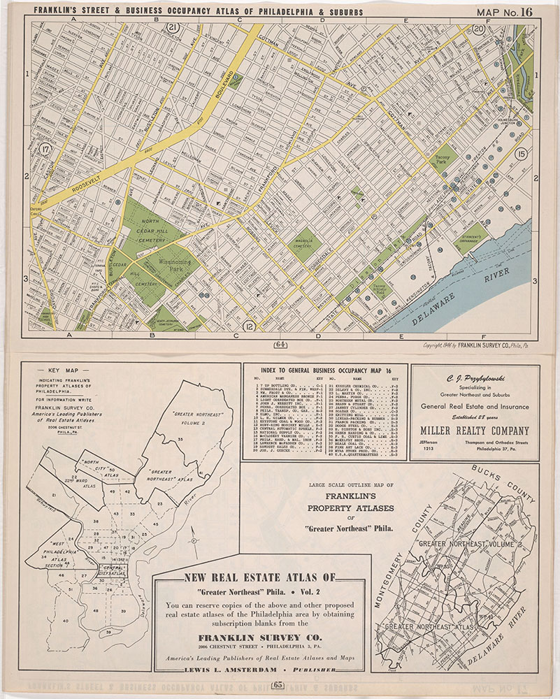 Franklin's Street and Business Occupancy Atlas of Philadelphia & Suburbs, 1946, Location Map 16