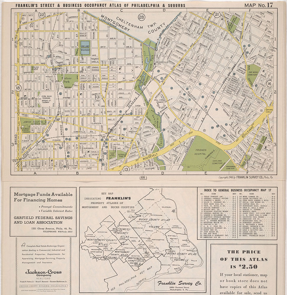 Franklin's Street and Business Occupancy Atlas of Philadelphia & Suburbs, 1946, Location Map 17