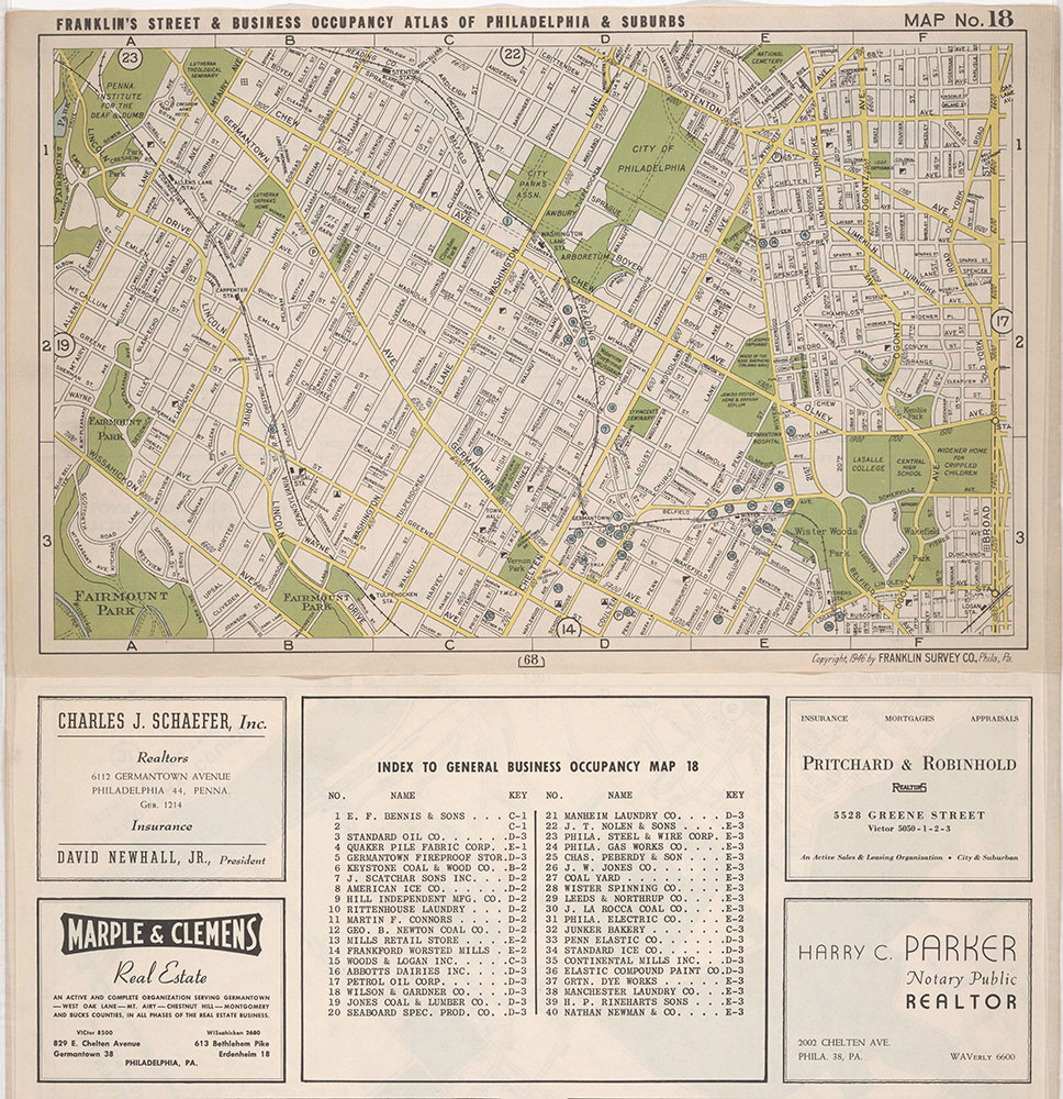 Franklin's Street and Business Occupancy Atlas of Philadelphia & Suburbs, 1946, Location Map 18
