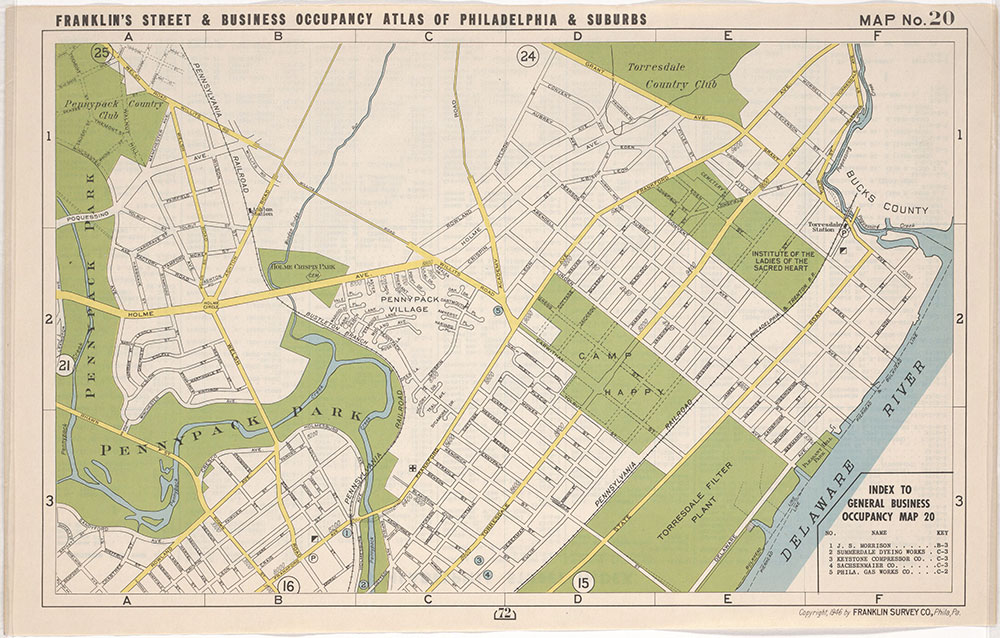 Franklin's Street and Business Occupancy Atlas of Philadelphia & Suburbs, 1946, Location Map 20