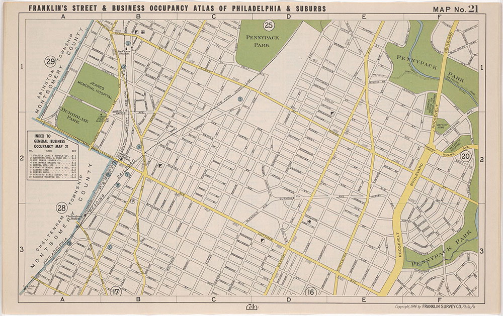 Franklin's Street and Business Occupancy Atlas of Philadelphia & Suburbs, 1946, Location Map 21