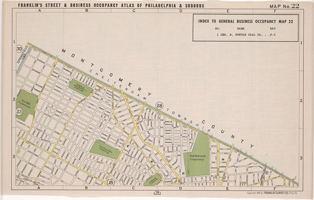 Franklin's Street and Business Occupancy Atlas of Philadelphia & Suburbs, 1946, Location Map 22