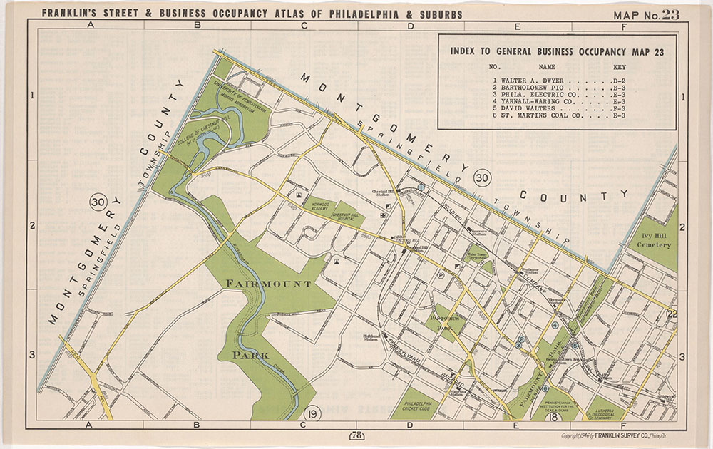 Franklin's Street and Business Occupancy Atlas of Philadelphia & Suburbs, 1946, Location Map 23
