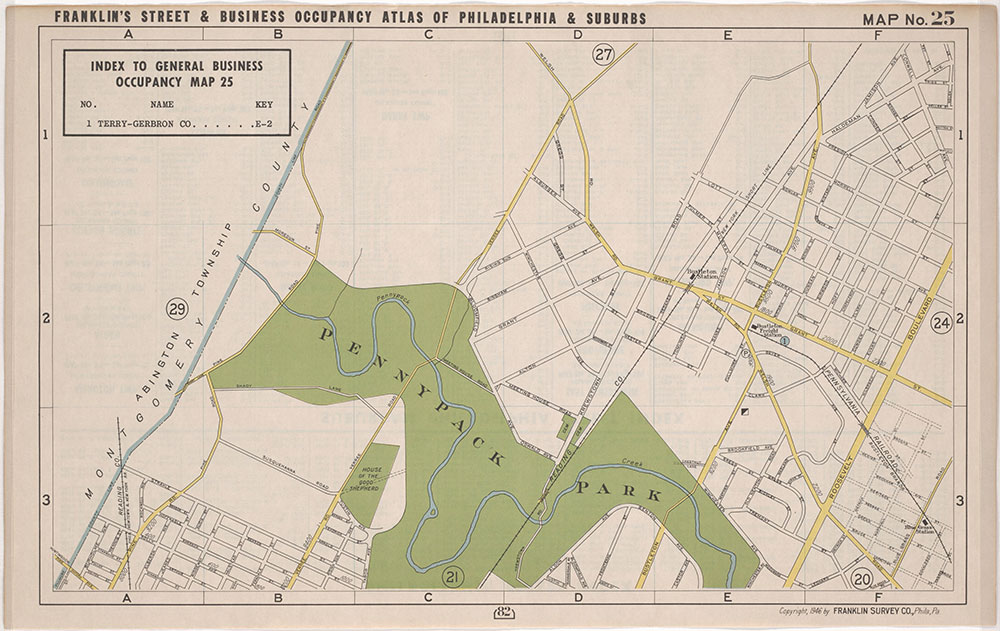 Franklin's Street and Business Occupancy Atlas of Philadelphia & Suburbs, 1946, Location Map 25