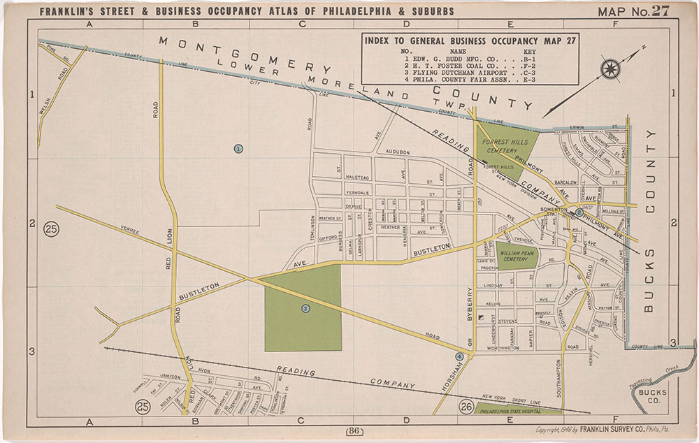 Franklin's Street and Business Occupancy Atlas of Philadelphia & Suburbs, 1946, Location Map 27