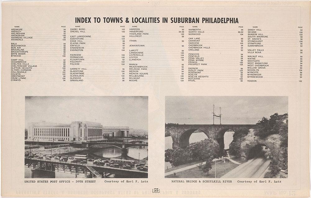Franklin'[s Street and Business Occupancy Atlas of Philadelphia & Suburbs, 1946, Suburban Town Index