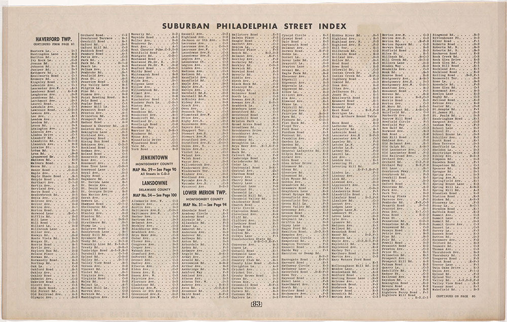Franklin's Street and Business Occupancy Atlas of Philadelphia & Suburbs, 1946, Suburban Street Index, Haverford-Lower Merion