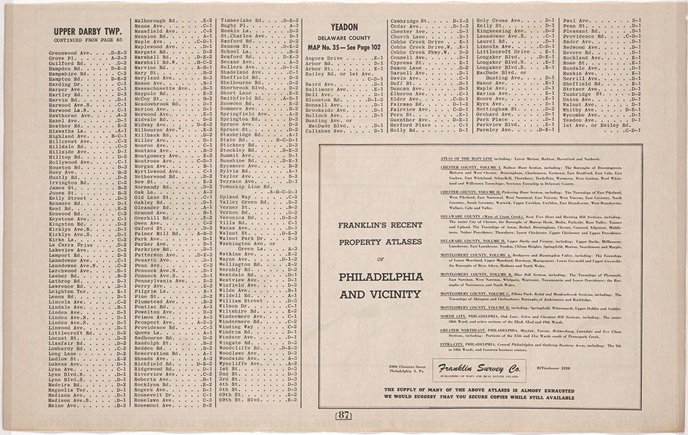Franklin's Street and Business occupancy Atlas of Philadelphia & Suburbs, 1946, Suburban Street Index, Upper Darby-Yeadon