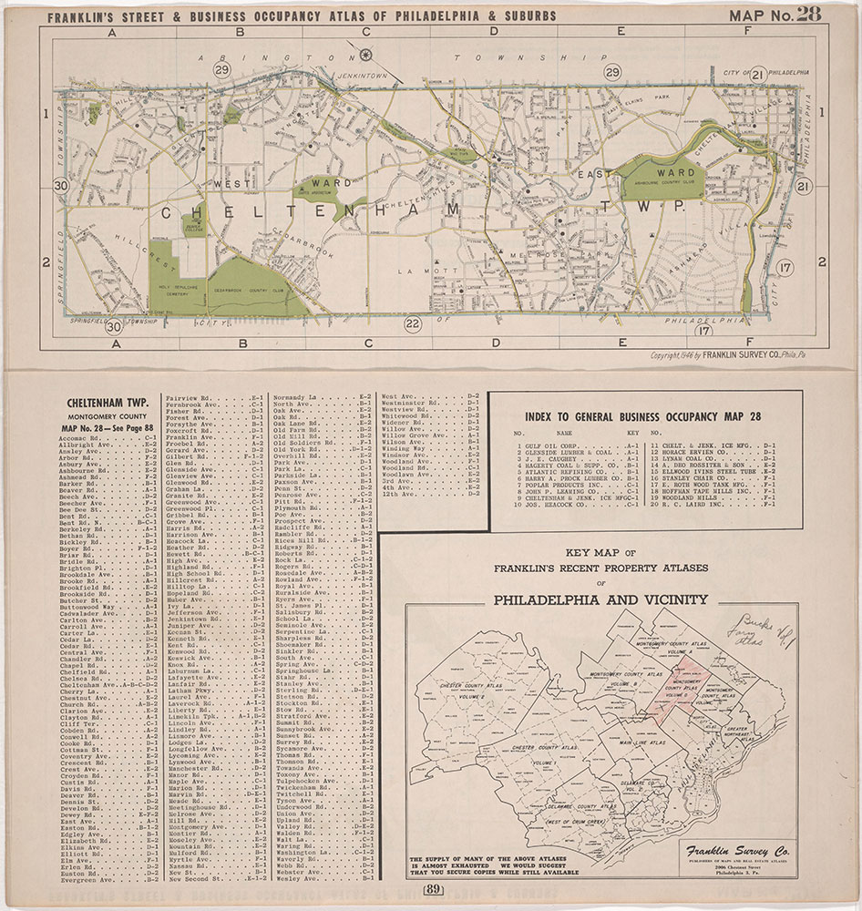 Franklin's Street and Business Occupancy Atlas of Philadelphia & Suburbs, 1946, Location Map 28