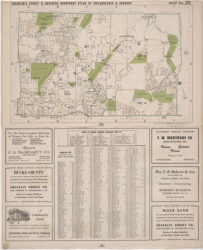 Franklin's Street and Business Occupancy Atlas of Philadelphia & Suburbs, 1946, Location Map 29