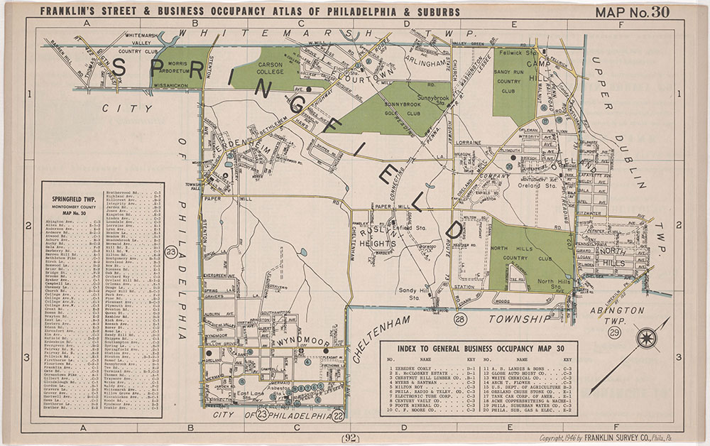Franklin's Street and Business Occupancy Atlas of Philadelphia & Suburbs, 1946, Location Map 30