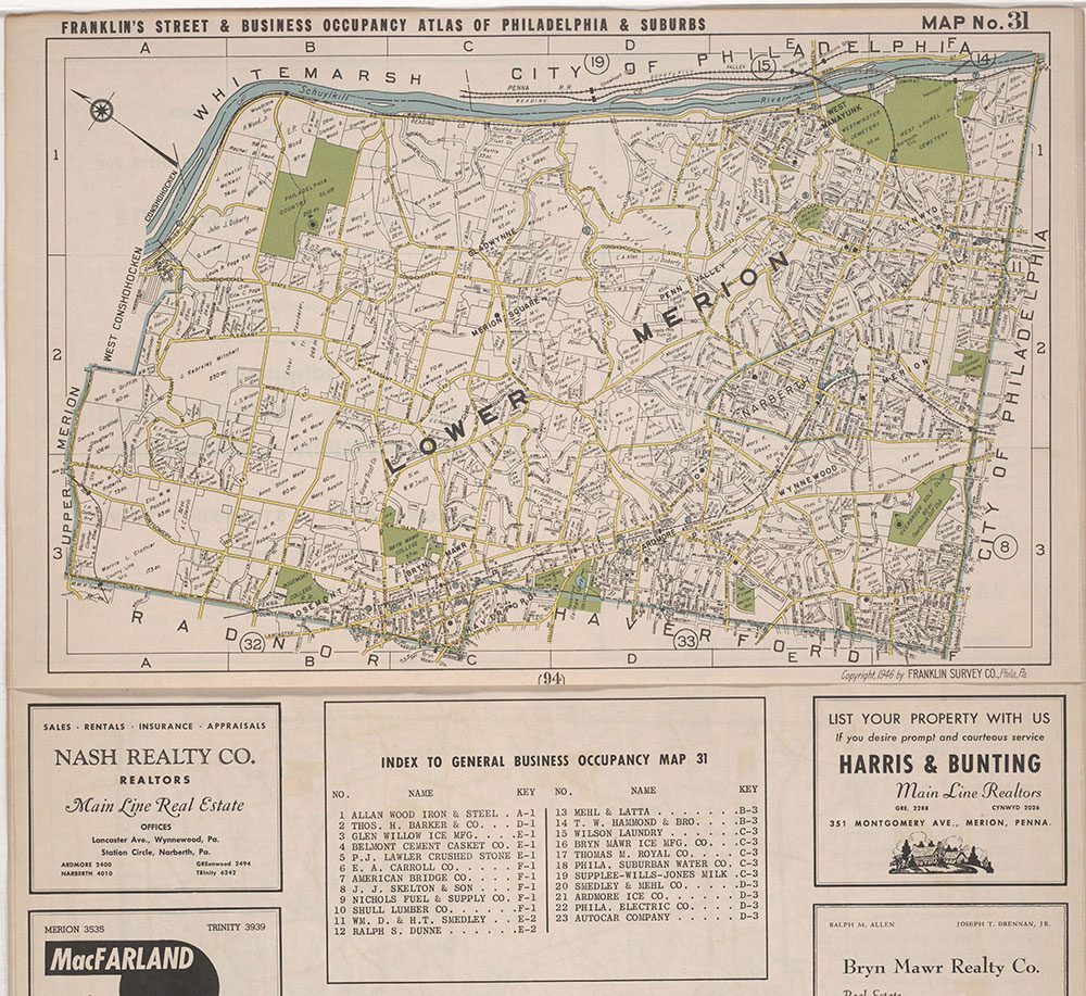 Franklin's Street and Business Occupancy Atlas of Philadelphia & Suburbs, 1946, Location Map 31