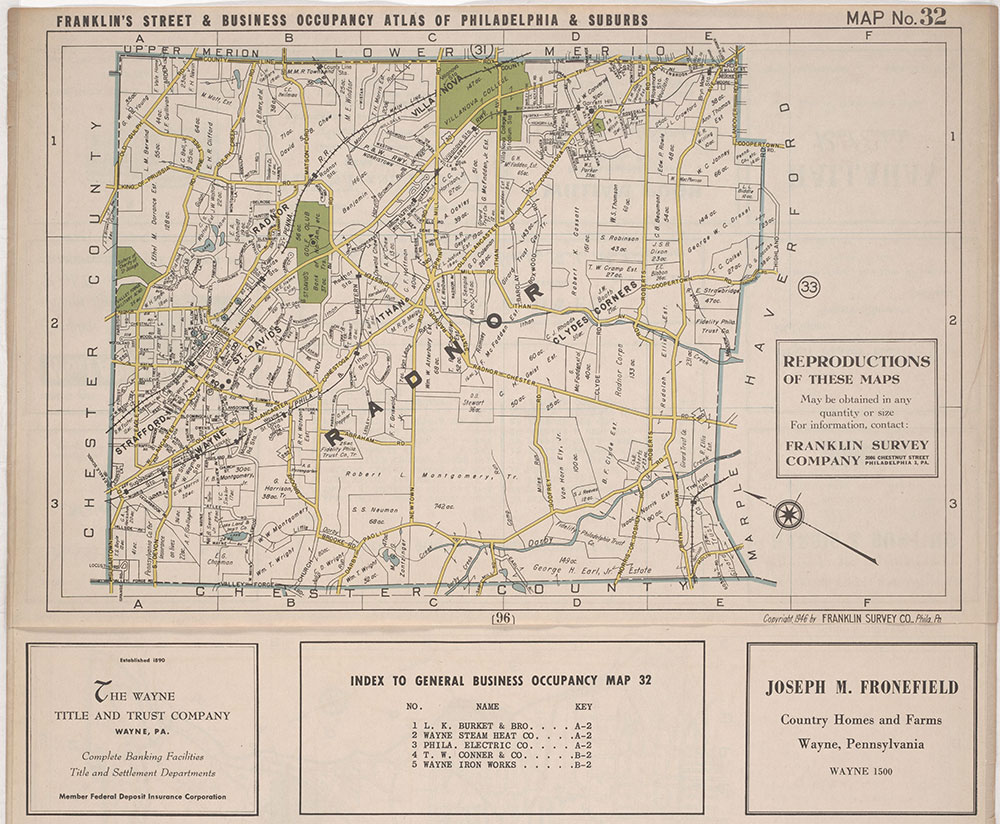 Franklin's Street and Business Occupancy Atlas of Philadelphia & Suburbs, 1946, Location Map 32