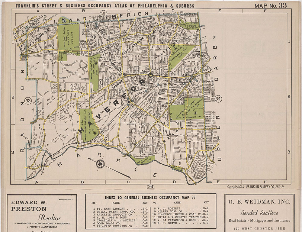 Franklin's Street and Business Occupancy Atlas of Philadelphia & Suburbs, 1946, LOcation Map 33