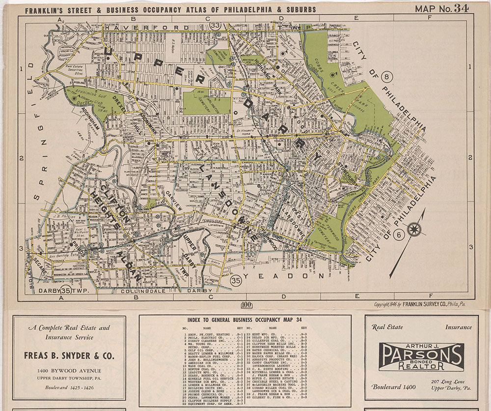 Franklin's Street and Business Occupancy Atlas of Philadelphia & Suburbs, 1946, Location Map 34