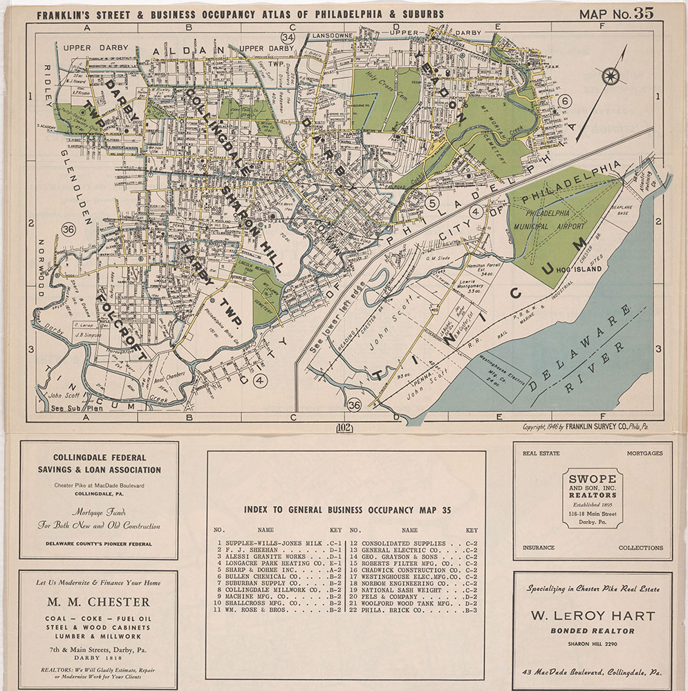 Franklin's Street and Business Occupancy Atlas of Philadelphia & Suburbs, 1946, Location Map 35