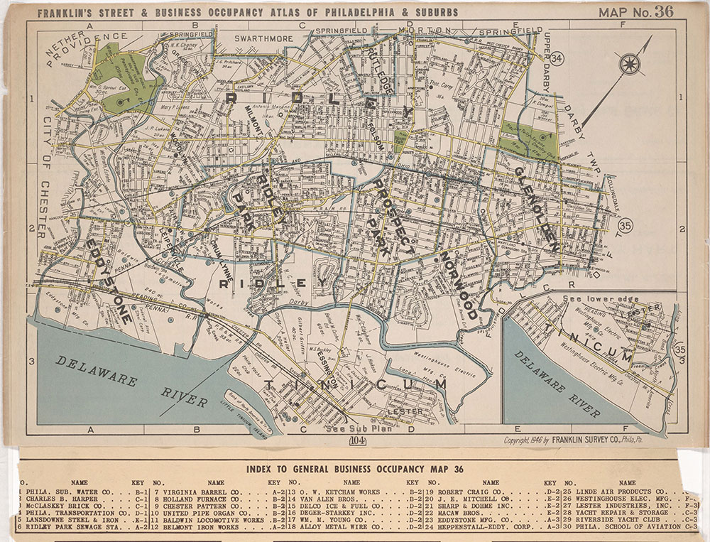Franklin's Street and Business Occupancy Atlas of Philadelphia & Suburbs, 1946, Location Map 36