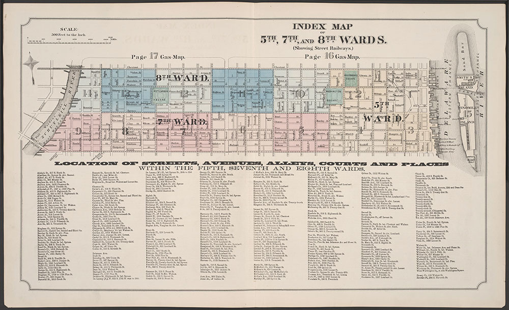 Atlas of Philadelphia, 5th, 7th & 8th Wards, 1874, Index Map & Street Listing