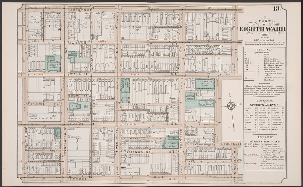 Atlas of Philadelphia, 5th, 7th & 8th Wards, 1874, Plate 13