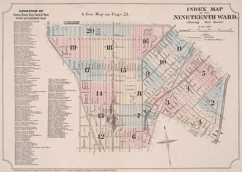 Atlas of Philadelphia, 19th Ward, 1874, Index Map & Street Listing