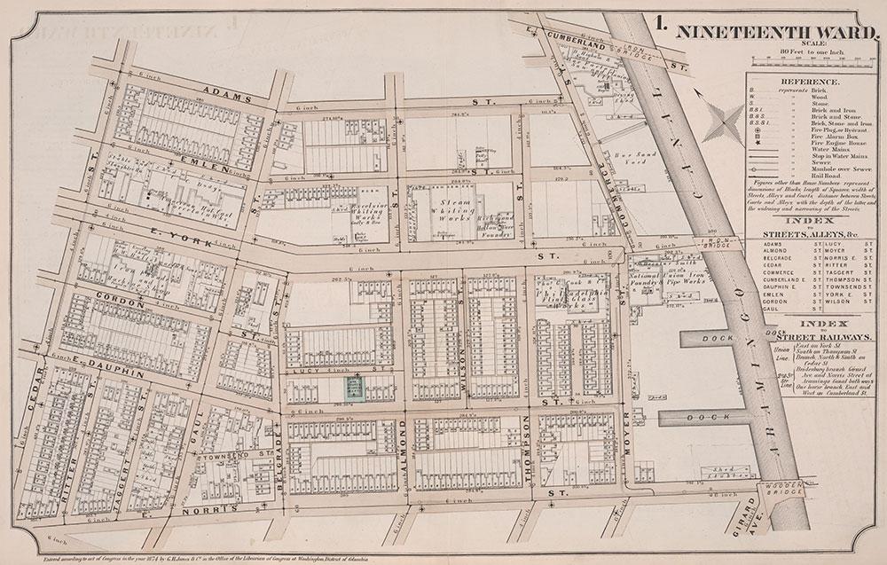 Atlas of Philadelphia, 19th Ward, 1874, Plate 1
