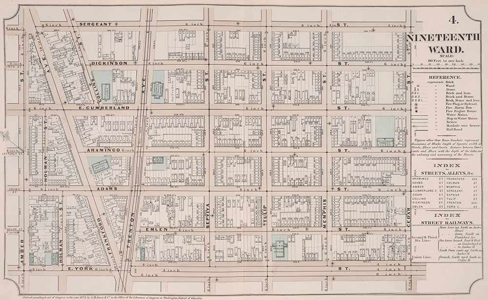 Atlas of Philadelphia, 19th Ward, 1874, Plate 4