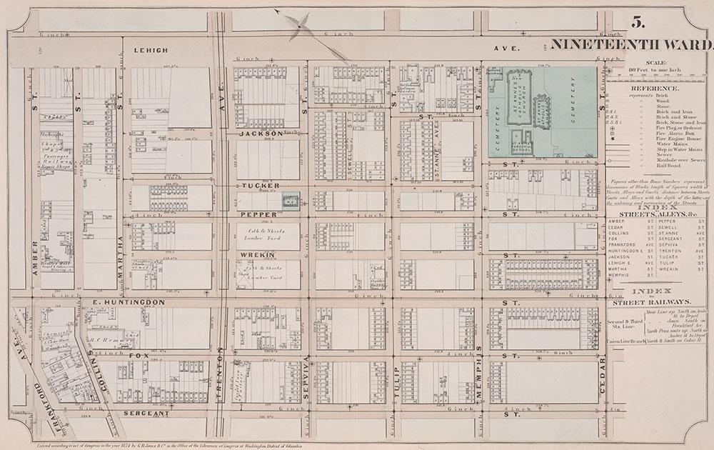 Atlas of Philadelphia, 19th Ward, 1874, Plate 5