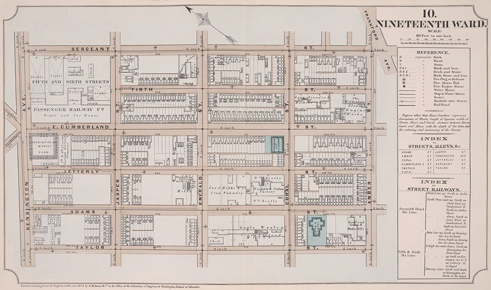 Atlas of Philadelphia, 19th Ward, 1874, Plate 10