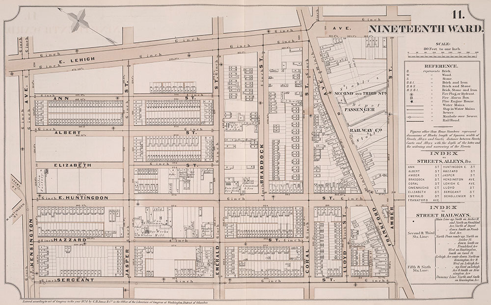 Atlas of Philadelphia, 19th Ward, 1874, Plate 11