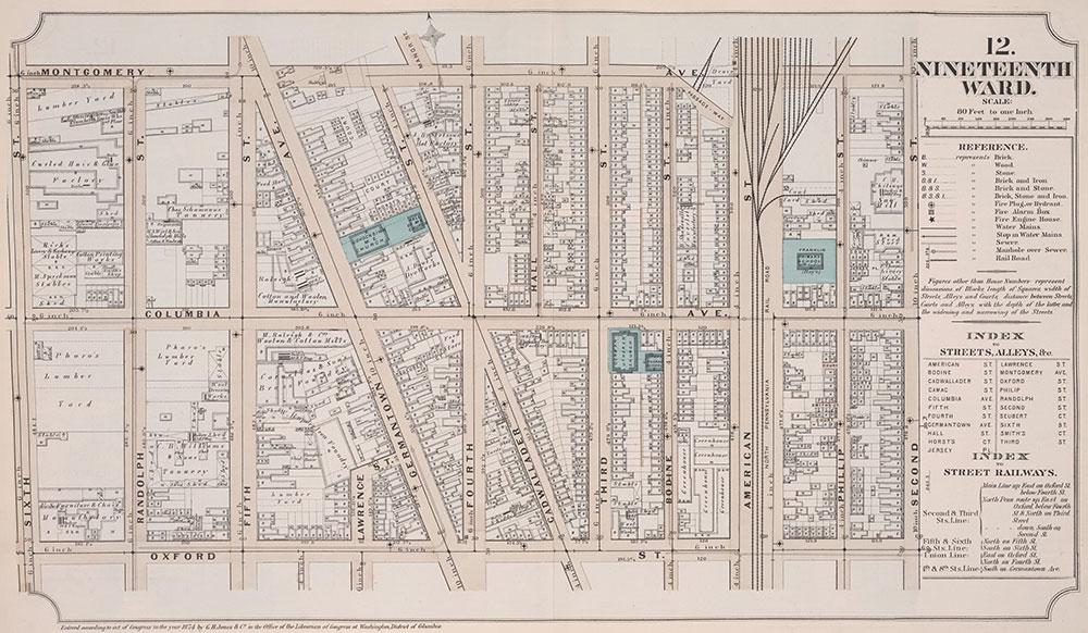 Atlas of Philadelphia, 19th Ward, 1874, Plate12