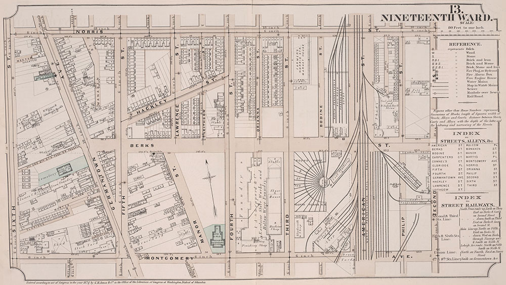 Atlas of Philadelphia, 19th Ward, 1874, Plate 13